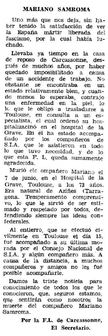 """Necrològica de Marià Sanromà Grau apareguda en el periòdic tolosà """"Espoir"""" de l'1 d'octubre de 1967"""