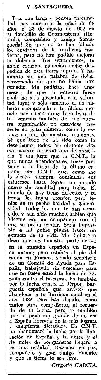 """Necrològica de Vicent Santágueda García apareguda en el periòdic tolosà """"Espoir"""" del 2 de desembre de 1962"""