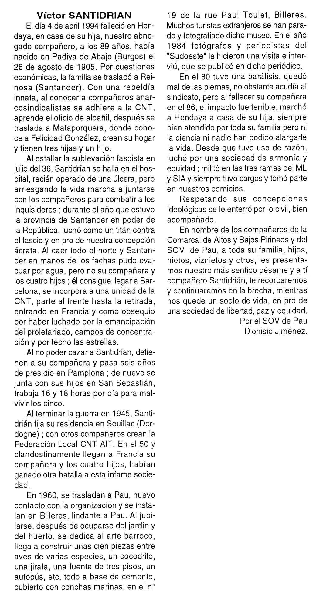 """Necrològica de Víctor Santidrián apareguda en el periòdic tolosà """"Cenit"""" del 14 de juny de 1994"""