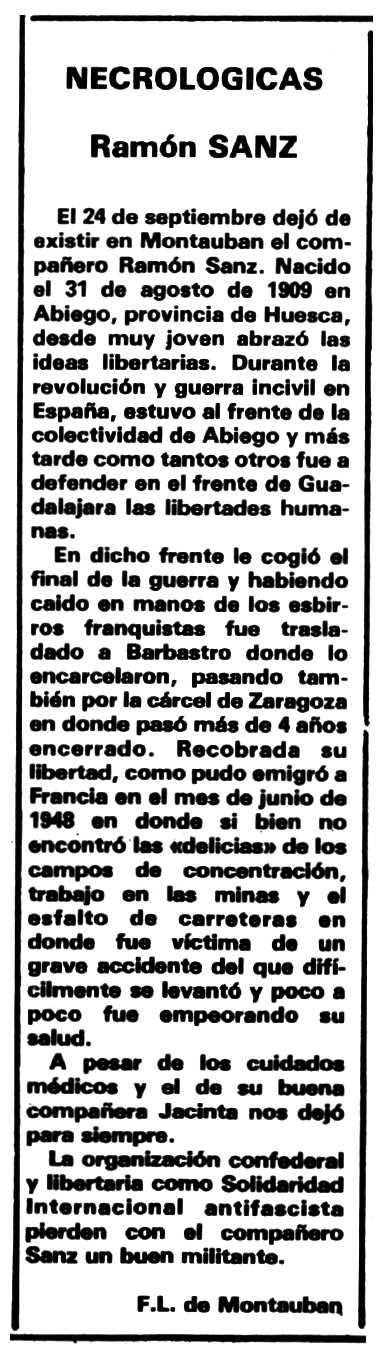 "Necrològica de Ramón Sanz Almudébar apareguda en el periòdic tolosà ""Espoir"" del 6 de desembre de 1981"