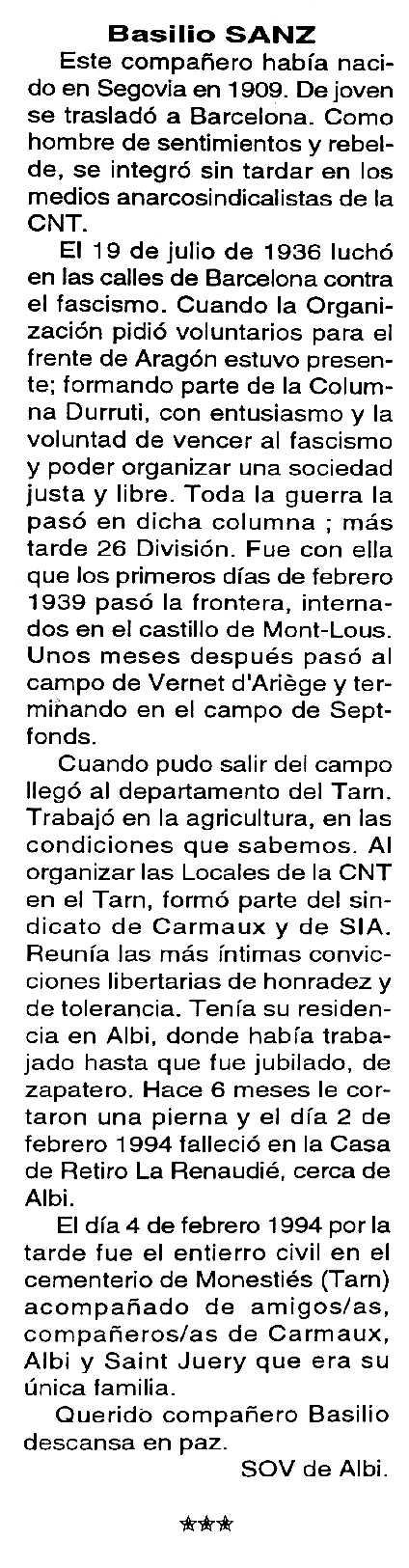 """Necrològica de Basilio Sanz apareguda en el periòdic tolosà """"Cenit"""" del 8 de març de 1994"""