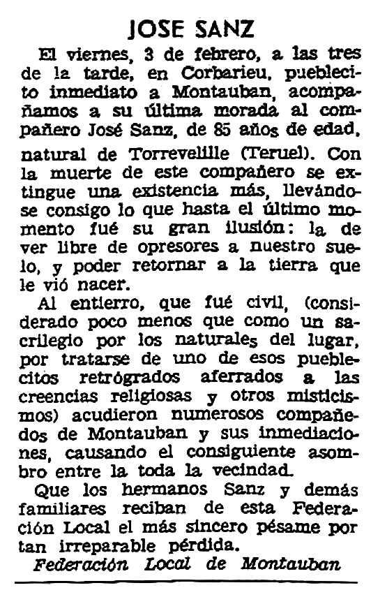 "Necrològica de José Sanz apareguda en el periòdic parisenc ""Solidaridad Obrera"" del 26 de febrer de 1961"