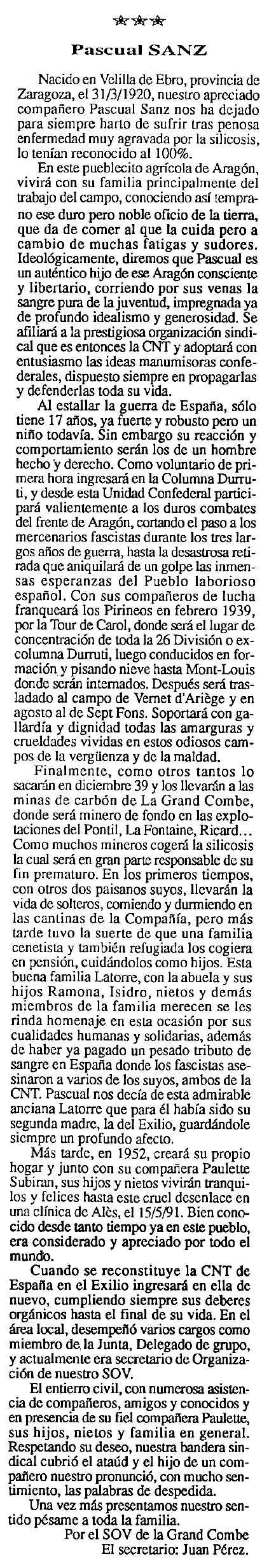"Necrològica de Pascual Sanz apareguda en el periòdic tolosà ""Cenit"" del 3 de setembre de 1991"