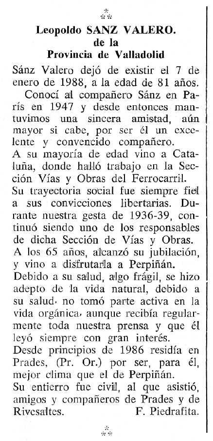 """Necrològica de Leopoldo Sanz Valero apareguda en el periòdic tolosà """"Cenit"""" del 4 d'octubre de 1988"""