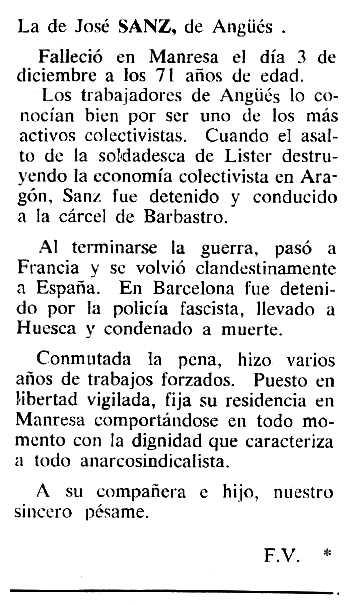 """Necrològica de Juan José Sanz Villacampa apareguda en el periòdic tlosà """"Cenit"""" del 3 de gener de 1984"""