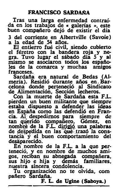 "Necrològica de Francisco Saldaña Hernández publicada en el periòdic parisenc ""Solidaridad Obrera"" del 17 d'octubre de 1957"