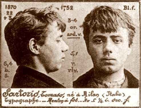 Foto policíaca de Tomaso Sartorio (ca. 1894)