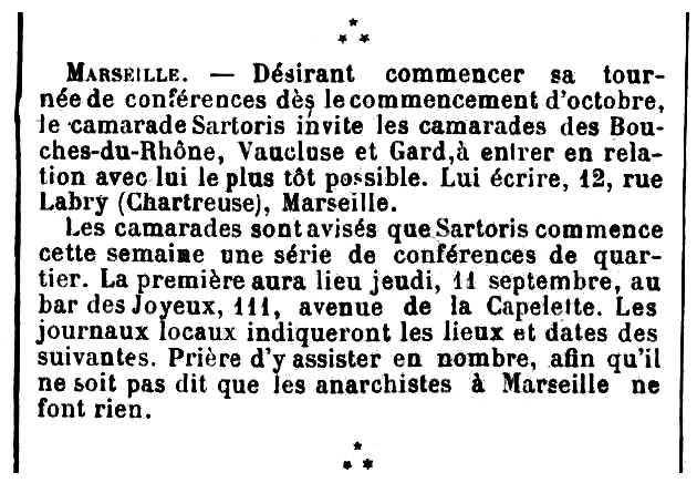 """Notícia sobre la gira propagandística d'Augustin Sartoris apareguda en el periòdic parisenc """"Les Temps Nouveaux"""" del 13 de setembre de 1902"""
