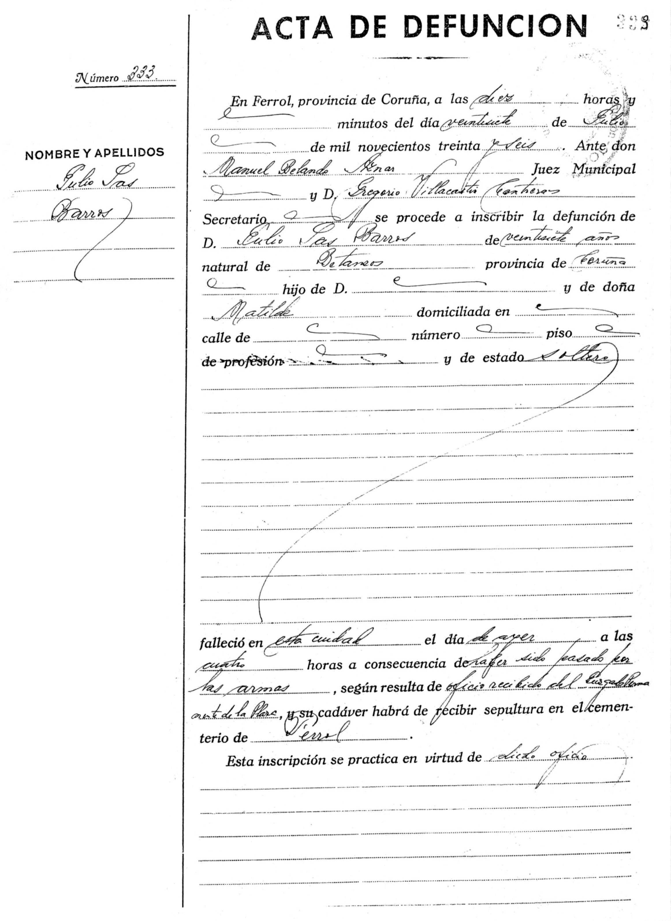 Acta de defunció de Julio Sas Barros