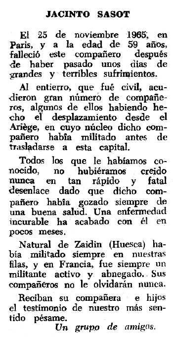 """Necrològica de Jacint Sasot publicada en el periòdic tolosà """"Espoir"""" del 23 de gener de 1966"""
