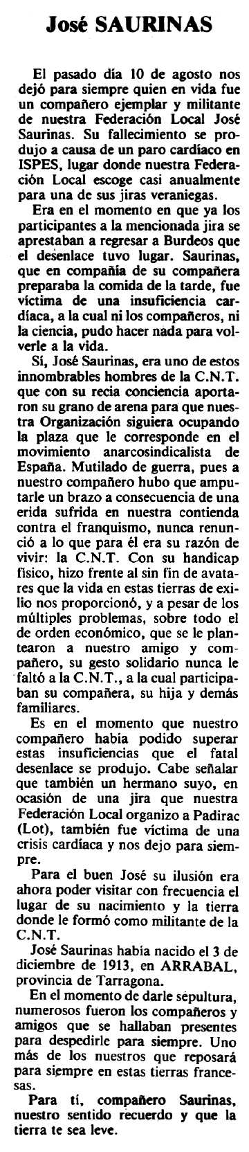"""Necrològica, amb dades diferents, de Josep Saurina Fabregat apareguda en el periòdic tolosà """"Espoir"""" del 18 de gener de 1981"""