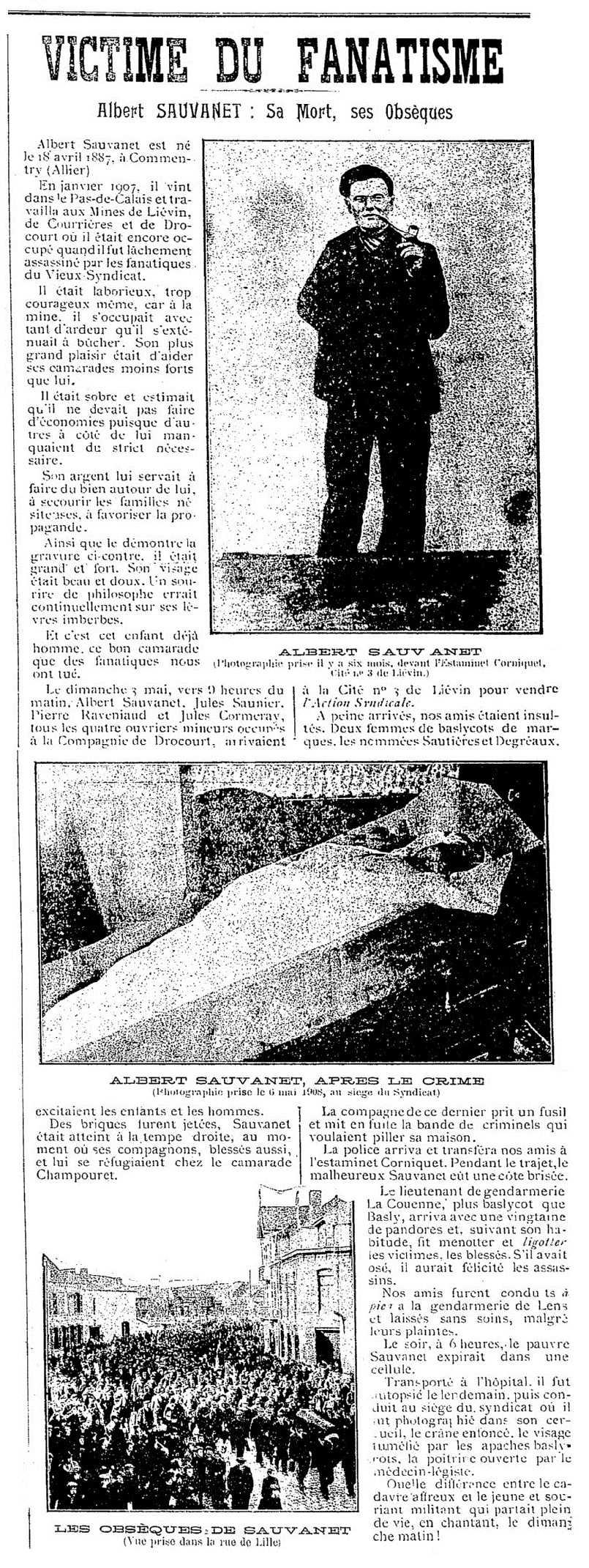 """Notícia sobre la mort d'Albert Sauvanet publicada en el periòdic de Lens """"L'Action Syndicale"""" del 17 de maig 1908"""