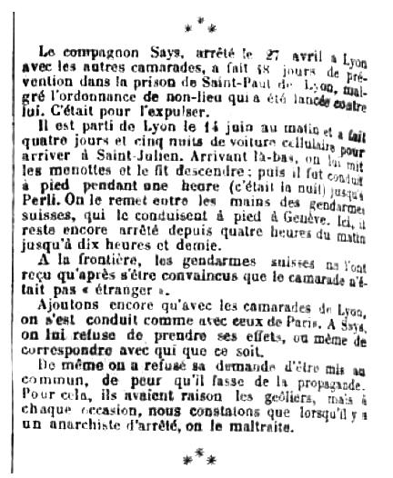 """Notícia de la detenció de Francisque Says publicada en el periòdic parisenc """"La Révolte"""" del 5 de juliol de 1890"""