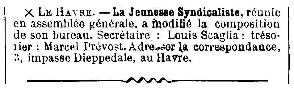 """Notícia sobre Louis Scaglia apareguda en el periòdic parisenc """"Le Temps Nouveaux"""" del 20 de setembre de 1906"""