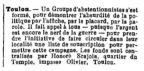 "Notícia sobre Honoré Scajola apareguda en el periòdic parisenc ""L'Anarchie"" del 15 de març de 1906"