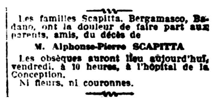 """Notícia de la mort d'Alphonse Scapitta apareguda en el diari marsellès """"Le Petit Provençal"""" del 13 de juliol de 1928"""