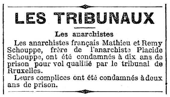 "Notícia de la condemna de Rémy Schouppe apareguda en el periòdic parisenc ""Le Rappel"" del 10 d'octubre de 1895"