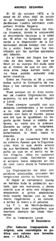 """Necrològica d'Andrés Segarra Lentín apareguda en el periòdic tolosà """"Espoir"""" del 19 de setembre de 1971"""