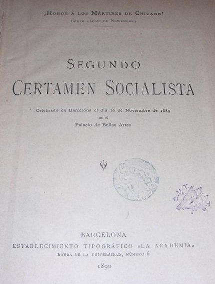 """Primera edició del """"Segon Certamen Socialista"""""""