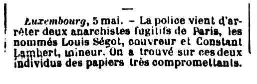 """Notícia de la detenció de Louis Ségot apareguda en el periòdic parisenc """"La Gazette de France"""" del 7 de maig de 1892"""
