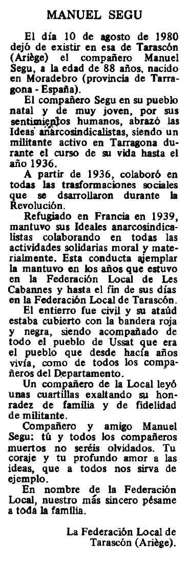 "Necrològica de Manuel Segu apareguda en el periòdic tolosà ""Espoir"" del 21 de setembre de 1980"