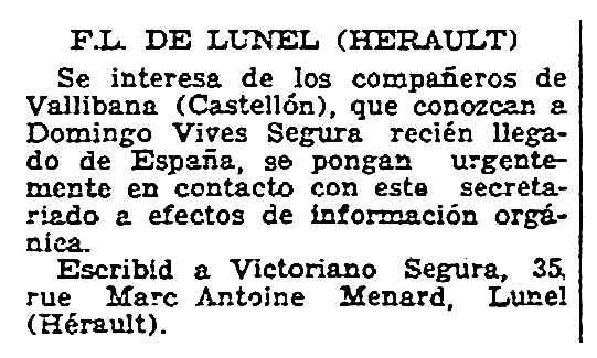 """Notícia orgànica de Victorià Segura Ferreres apareguda en el periòdic parisenc """"Solidaridad Obrera"""" del 2 d'abril de 1949"""