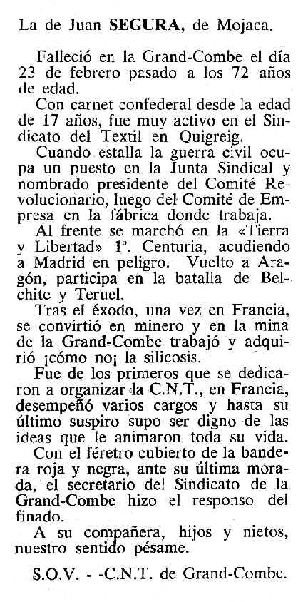 "Necrològica de Juan Segura Morales apareguda en el periòdic tolosà ""Cenit"" del 20 de març de 1984"