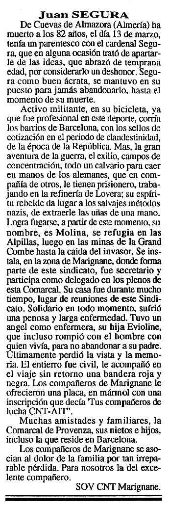 """Necrològica de Juan Segura apareguda en el periòdic tolosà """"Cenit"""" del 6 d'abril de 1993"""