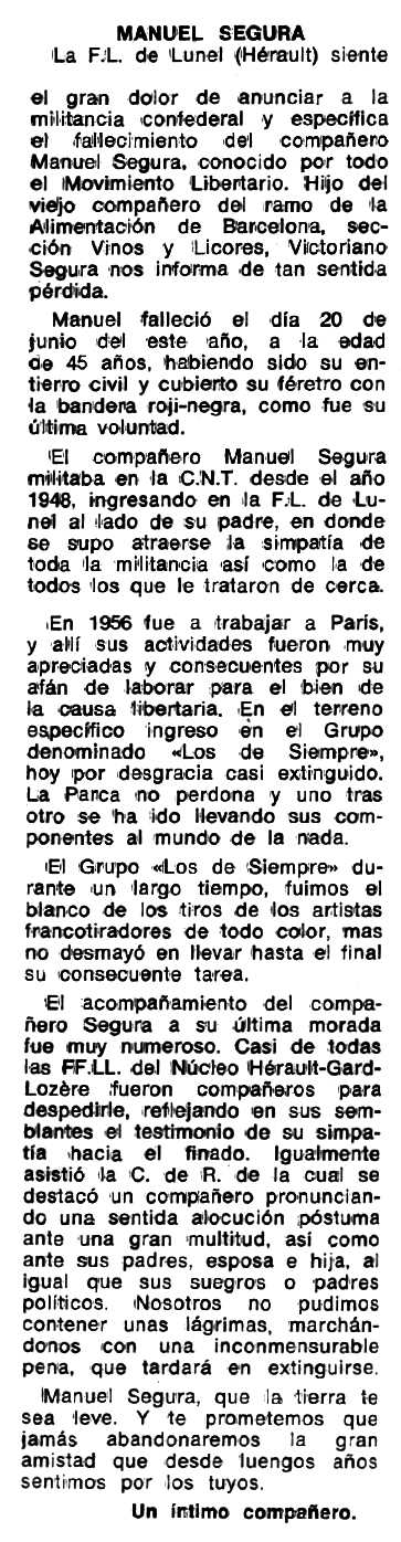 "Necrològica de Manuel Segura apareguda en el periòdic tolosà ""Espoir"" del 25 de setembre de 1977"