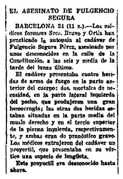 """Notícia de l'autòpsia de Fulgencio Segura Pérez apareguda en el diari madrileny """"La Voz"""" del 25 de novembre de 1920"""