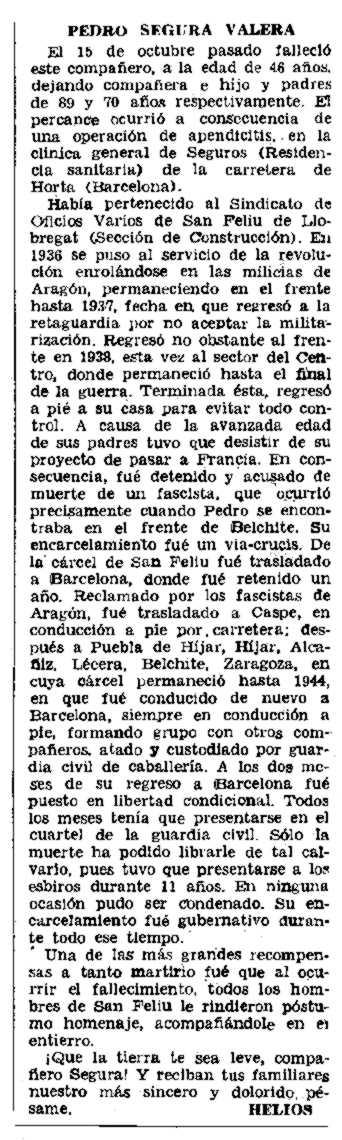"Necrològica de Pedro Segura Valera apareguda en el periòdic tolosà ""CNT"" del 8 de gener de 1956"