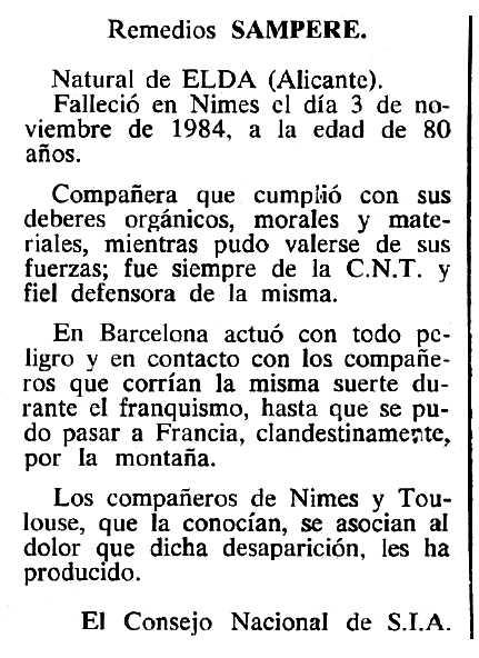 """Necrològica de Remedios Semprere Roig apareguda en el periòdic tolosà """"Cenit"""" del 15 de gener de 1985"""