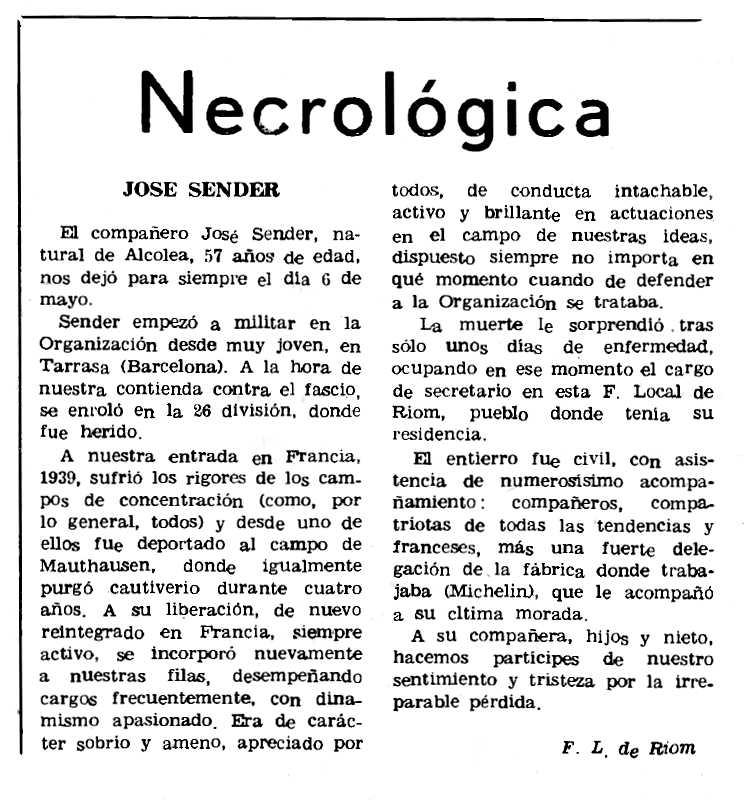 """Necrològica de José Sender Fau publicada en el periòdic parisen """"Le Combat Syndicaliste"""" del 16 de setembre de 1971"""