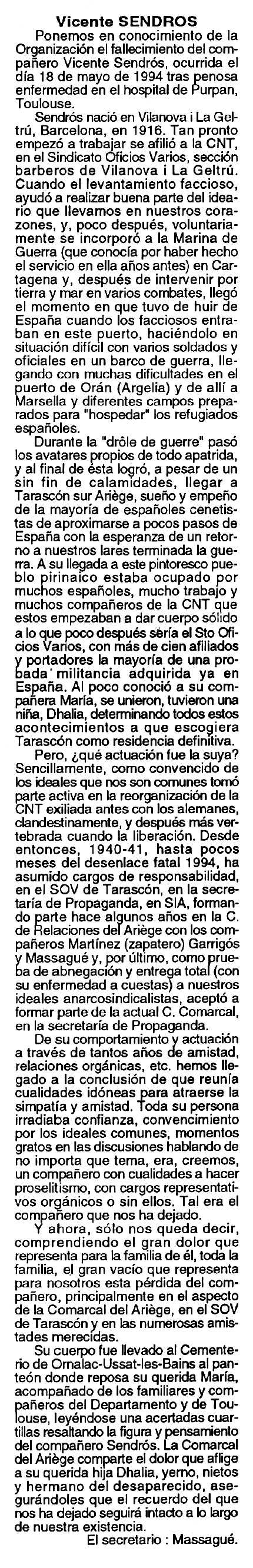 "Necrològica de Vicenç Sendrós Nolla apareguda en el periòdic tolosà ""Cenit"" del 21 de juny de 1994"