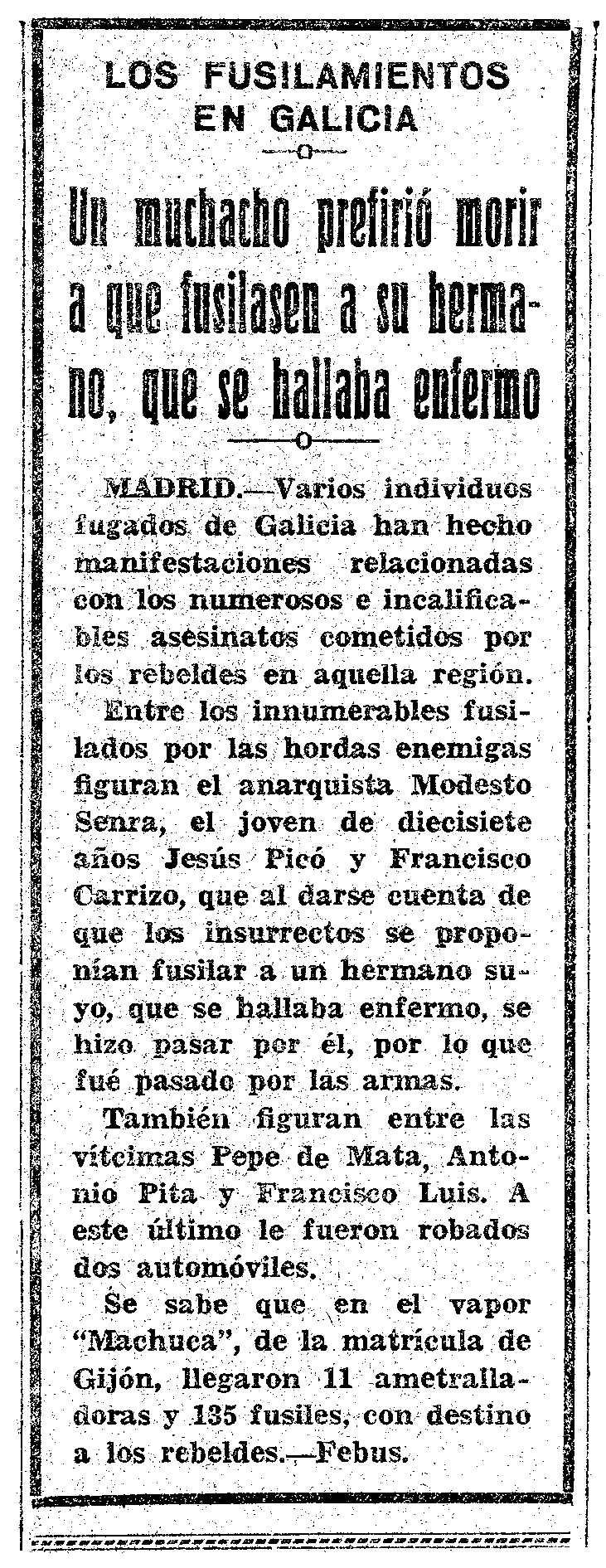 """Notícia sobre la mort de Modesto Senra Martínez apareguda en el periòdic murcià """"El Liberal"""" del 31 d'octubre de 1936"""