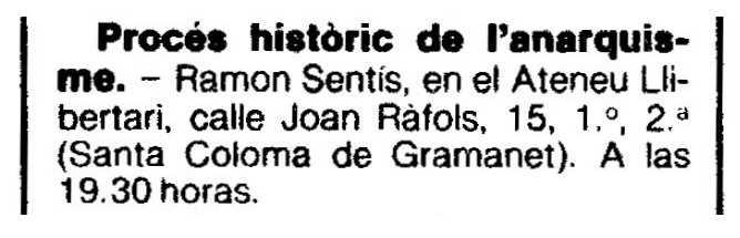 """Convocatòria de l'acte publicada en el periòdic barceloní """"La Vanguardia"""" del 3 d'abril de 1986"""