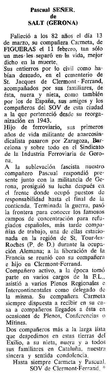 "Necrològica de Pasqual Señer Lucero apareguda en el periòdic tolosà ""Cenit"" del 25 d'abril de 1989"