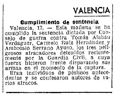 """Notícia de l'execució d'Ambrosio Serrano Ayuso apareguda en el diari barceloní """"La Vanguardia"""" del 18 de febrer de 1940"""