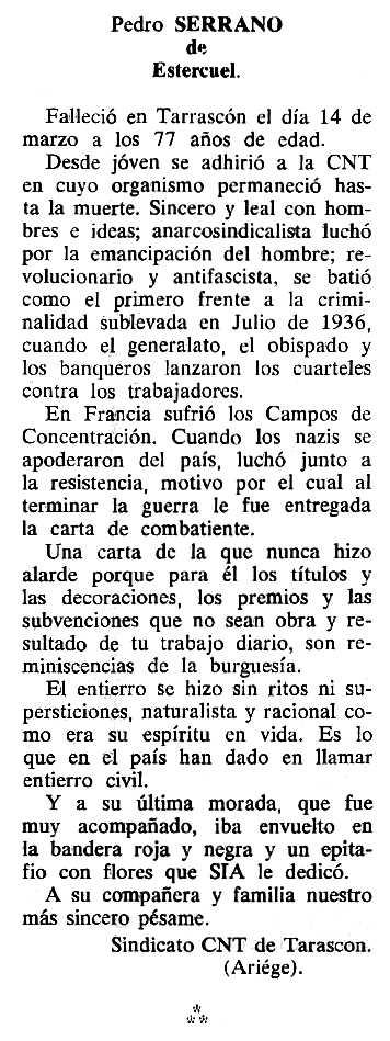 "Necrològica de Pedro Serrano apareguda en el periòdic tolosà ""Cenit"" del 6 de setembre de 1988"