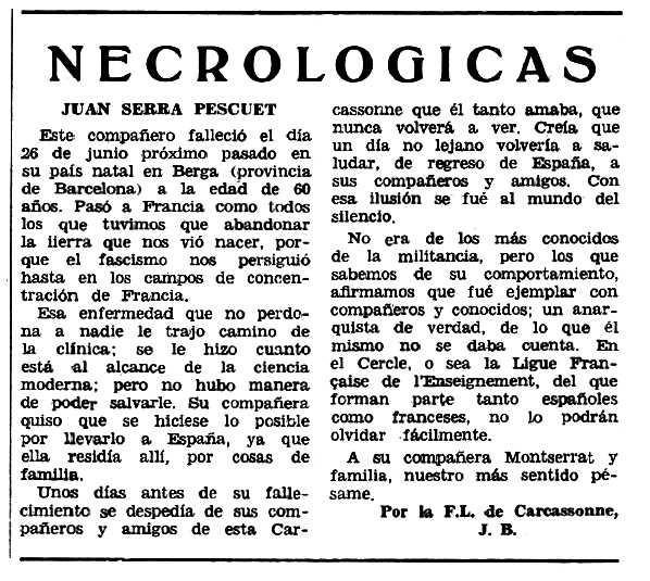 """Necrològica de Joan Serra Pascuet apareguda en el periòdic tolosà """"Espoir"""" del 22 d'octubre de 1967"""