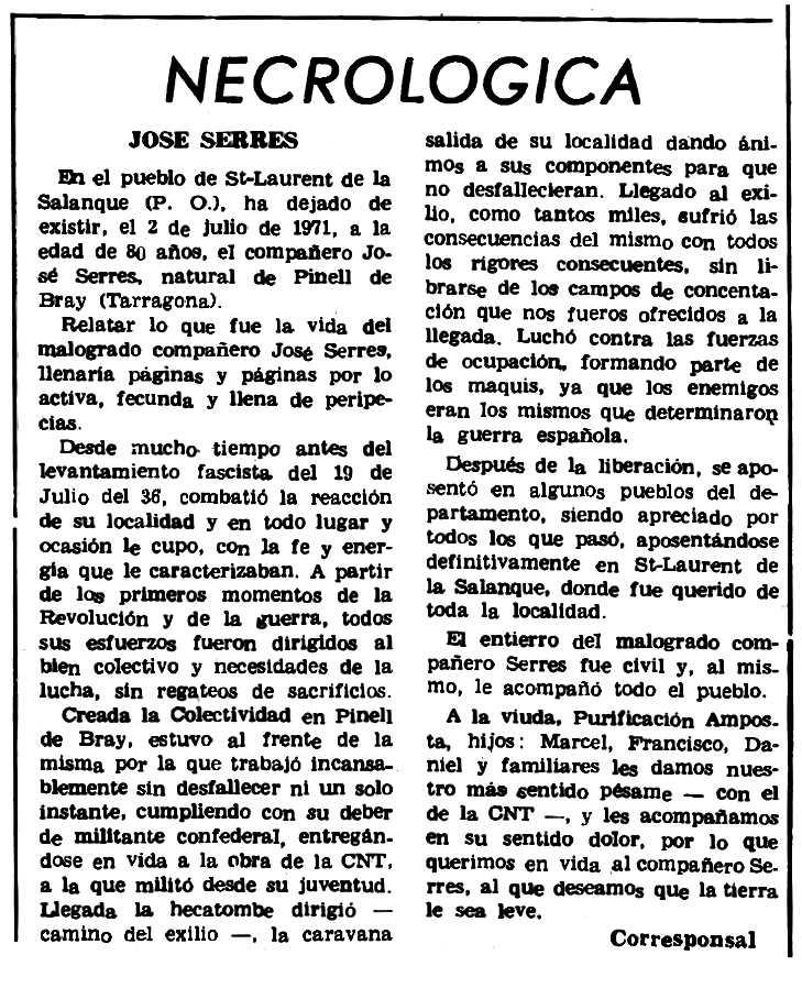 "Necrològica de Josep Serres apareguda en el periòdic parisenc ""Le Combat Syndicaliste"" del 26 d'agost de 1971"