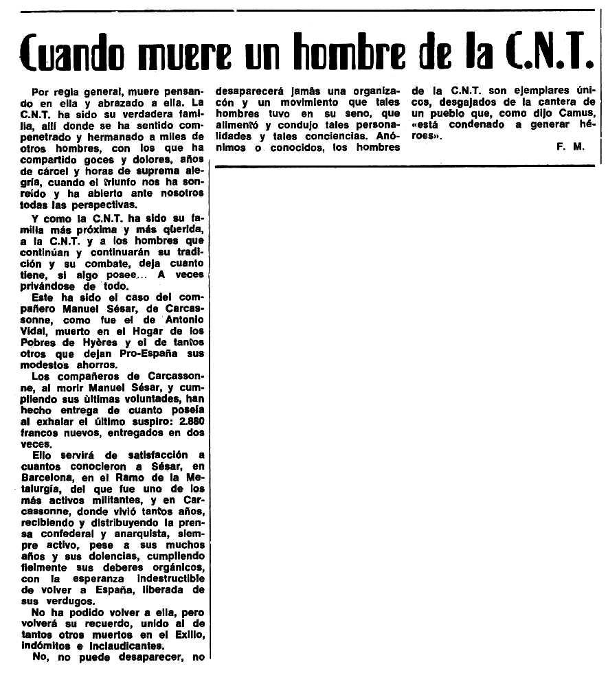 """Notícia sobre la donació feta per Manuel Sésar Lloria publicada en el periòdic tolosà """"Espoir"""" del 24 de desembre de 1972"""
