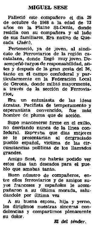 """Necrològica de Miguel Sesé García apareguda en el periòdic parisenc """"Le Combat Syndicaliste"""" del 5 de desembre de 1968"""
