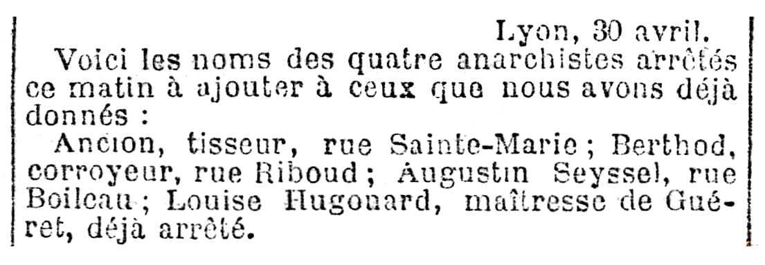 """Notícia de la detenció d'Augustin Seyssel apareguda en el diari parisenc """"Le Radical"""" del 2 de maig de 1892"""