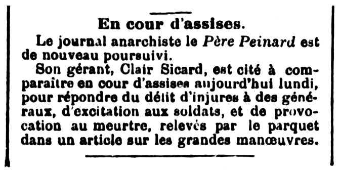 """Notícia sobre el judici de Clair Sicard apareguda en el periòdic de Bourges """"L'Independent du Cher"""" del 22 de setembre de 1891"""