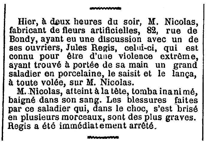 """Notícia d'una detenció de Jules Régis (""""Siger"""") apareguda en el diari parisenc """"Le Figaro"""" del 12 de gener de 1886"""