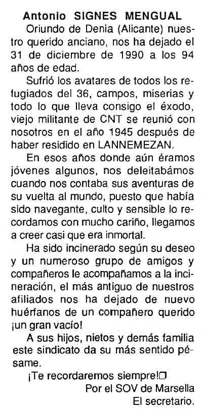"Necrològica d'Antoni Signes Mengual apareguda en el periòdic tolosà ""Cenit"" del 29 de gener de 1991"