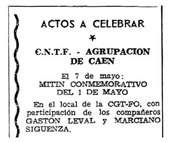 """Propaganda de un acto de Marciano Sigüenza Pierna publicada en el periódico parisino """"Solidaridad Obrera"""" (4 de mayo de 1961)"""