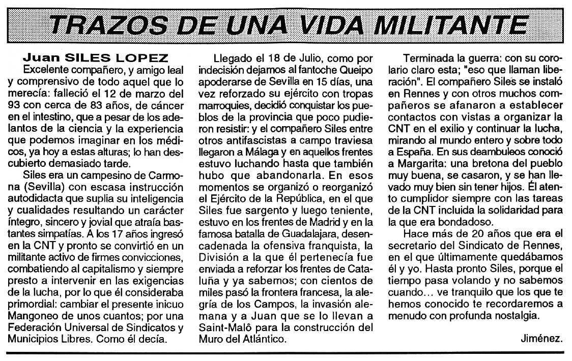 "Necrològica de Juan Siles López apareguda en el periòdic tolosà ""Cenit"" del 27 d'abril de 1993"
