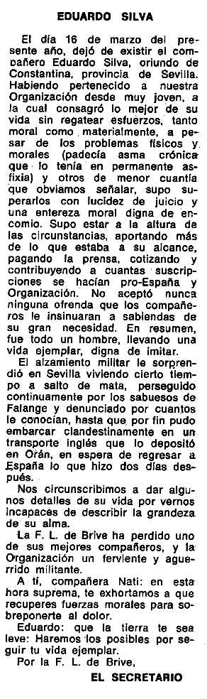 "Necrològica d'Eduardo Silva apareguda en el periòdic tolosà ""Espoir"" del 22 de juny de 1975"